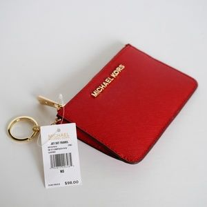 Michael Kors Jet Set Coin Pouch Key Holder Chili